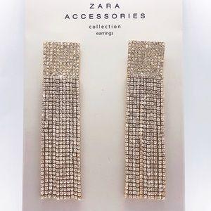 Zara Crystal Dangle Drop Tassel Earrings New bling